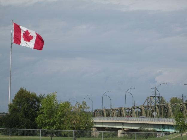Canadian Flag with Bridge